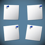 Square note papers with blue pin