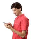 Man reading a text message on mobile phone.