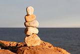 Balancing beach stones