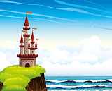Cartoon castle standing on a cliff on a lue sea and sky.