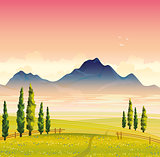 Summer landscape with green meadow and mountains
