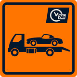 Vector sign with truck tows.