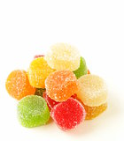 colorful jujube (gelatin candy) on a white background