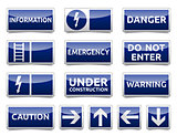 Danger blue sign mini set
