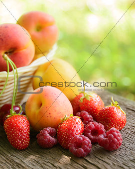 Fresh Ripe Sweet Fruits on the Wooden Table