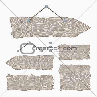 Blank wooden signs (hanging and light gray)