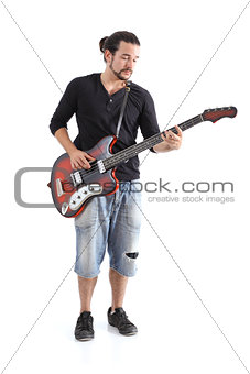 Boy playing bass