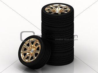 Black wheels with golden disks
