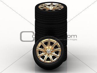 Black wheels with golden disks