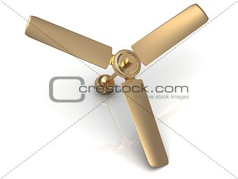 Gold ceiling fan with a reflective surface