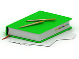 Green notebook and two gold pens