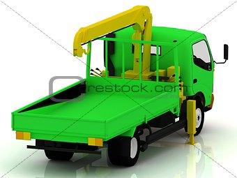 Green truck with a yellow crane