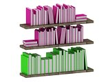 Many intelligent books on wooden shelves