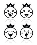 Royal baby, little prince icons set
