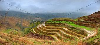 Rice Terraces, Dazhai, near Longsheng, Guangxi, China. Yao villa