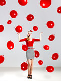 Woman with red ballons