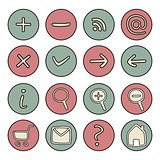 Vector icons or buttons - doodle arrow, home, rss, search, mail, ask, plus, minus, shop, back, forward isolated on white background
