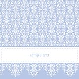 Vector card or invitation - classic and elegant with sweet blue background and white ornament lace.