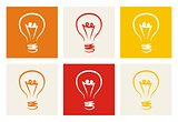 Light bulb vector icon - hand drawn colorful doodle symbol set isolated on beige, red, orange and yellow background.