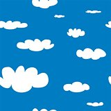 Seamless vector pattern with white clouds on blue sky background.