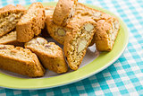cantuccini cookies on checkered tablecloth