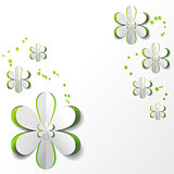 White Paper Flower in Green background Card Design