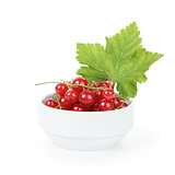 fresh ripe redcurrant with leaf in bowl