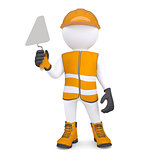 3d white man in overalls with a trowel