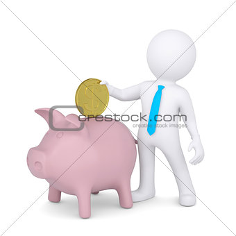 3d white man drops a coin into the piggy bank