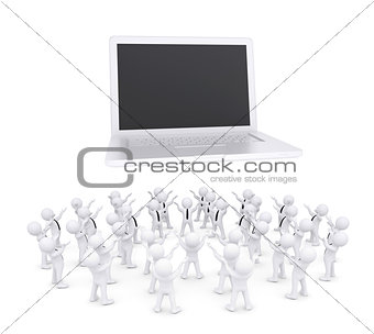 Group of white people worshiping laptop