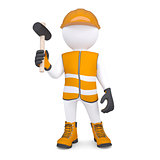3d white man in overalls with a hammer