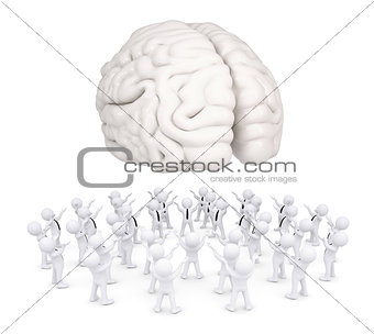 Group of white people worshiping brain
