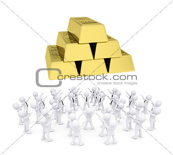Group of white people worshiping gold bricks