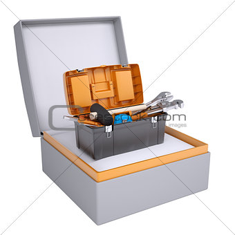 Toolbox in open gift box