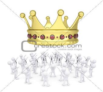 Group of white people worshiping crown