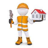 3d man in overalls with wrench and house