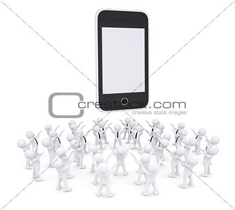 Group of white people worshiping smartphone