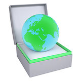 Earth in open gift box