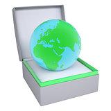 Earth in open gift box
