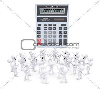 Group of white people worshiping calculator