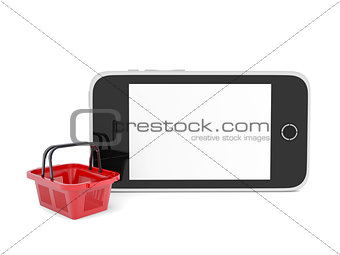 Smartphone and basket for purchasings