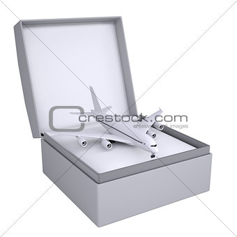 Airplane in open gift box