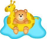 Teddy Bear in Giraffe Buoy