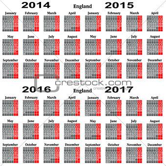 Calendar for 2014,2015,2016,2017  year.