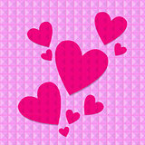Shocking pink hearts on pink rivets background