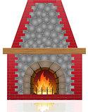fireplace vector illustration