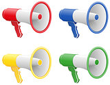 colored megaphones vector illustration