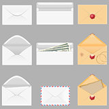 set icons paper envelopes vector illustration