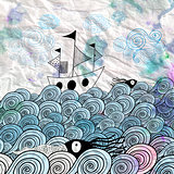 graphic ship at sea