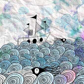 graphic ship at sea